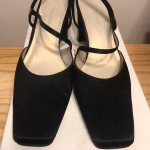 Black fabric dress shoes